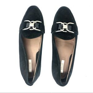 Geox Black Suede and Silver Buckle Loafer US 6.5